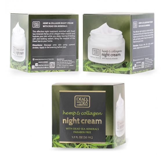 Ночной крем с экстрактом конопли, коллагеном и минералами против морщин Dead Sea Collection 50 мл