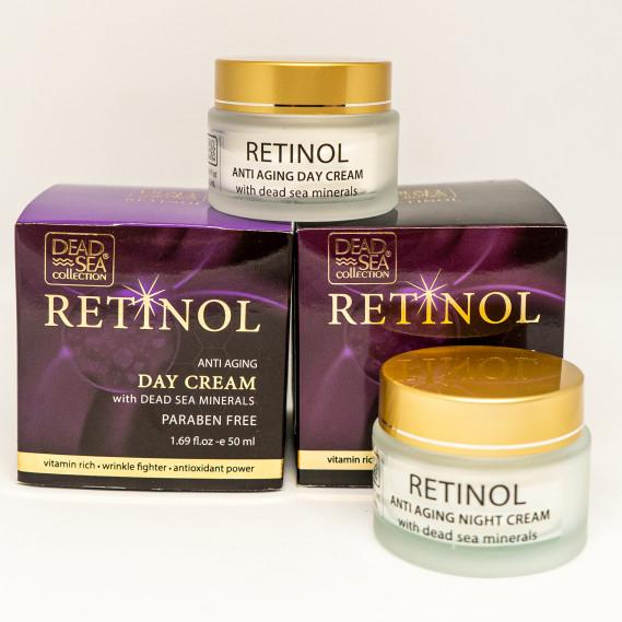 Набор для лица против старения с ретинолом и минералами Мертвого моря Dead Sea Collection 50 мл + 50 мл