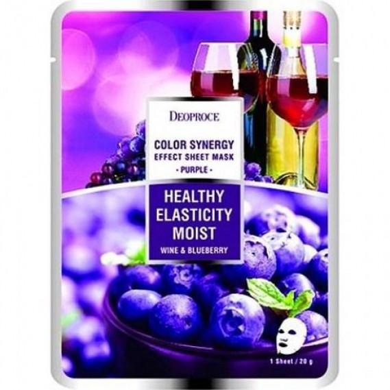 Тканевая омолаживающая маска на основе черники и красного винограда Deoproce Color Synergy Effect Sheet Mask Purple 20 мл