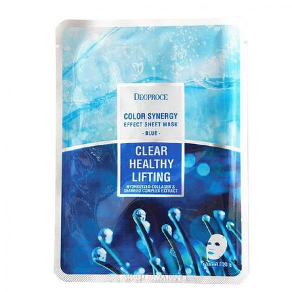 Тканевая маска морской коллаген для лифтинга Deoproce Color Synergy Effect Sheet Mask Blue 20 мл