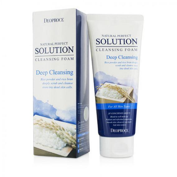 Пенка для глубокого очищения с рисовой пудрой Deoproce Natural Perfect Solution Cleansing Foam Deep Cleansing  170 мл