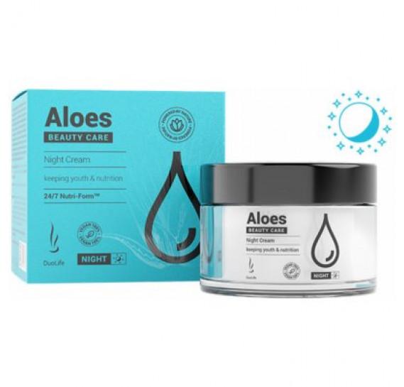 Ночной увлажняющий крем для лица с гиалуруновой кислотой DuoLife Aloes Beauty Care Night Cream 50 мл