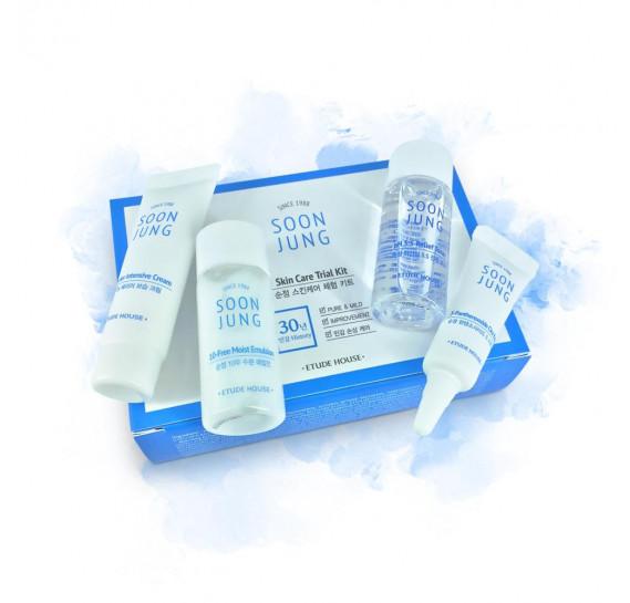Набор миниатюр для чувствительной кожи Etude House Soonjung Skin Care Trial Kit ETUDE HOUSE 15мл + 15мл + 7мл + 5мл