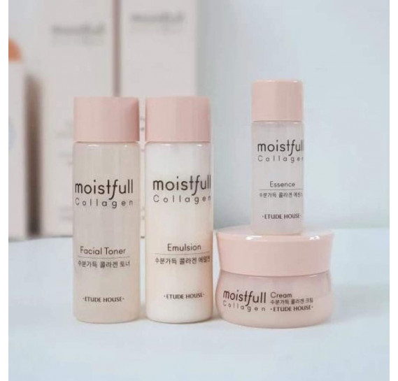 Антивозрастной Увлажняющий Набор Etude House Moistfull Collagen Skin Care 4 Kit ETUDE HOUSE 20мл + 15мл + 20мл + 10мл