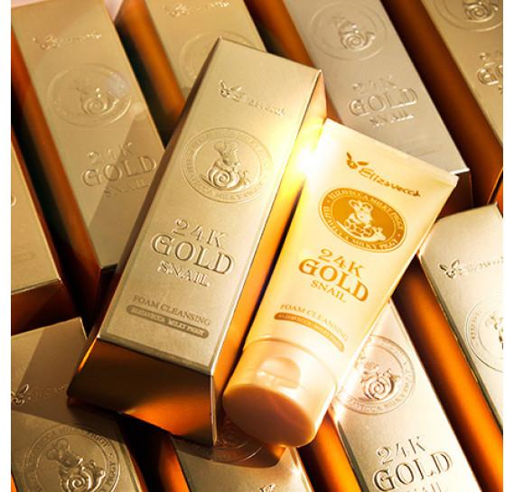 Пенка для умывания с муцином улитки и золотом Elizavecca 24k Gold Snail Cleansing Foam 180 мл