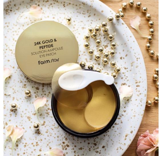 Антивозрастные патчи с частичками золота и пептидами FarmStay 24K Gold & Peptide Solution Ampoule Eye Patch FARMSTAY 60 шт