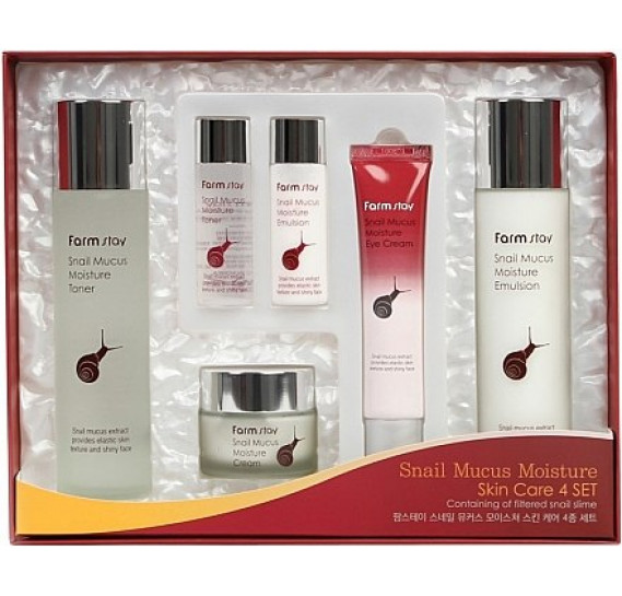 Набор средств для лица с экстрактом улитки FarmStay Snail Mucus Moisture Skin Care 4 Set- 6 предметов FARMSTAY 150 мл + 150 мл + 50 мл + 40 мл + 30 мл + 30 мл