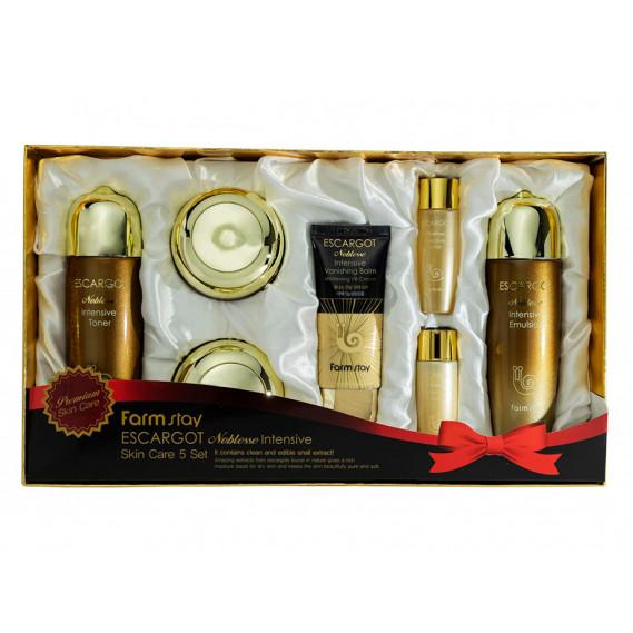 Набор по уходу за кожей лица на экстракте слизи королевской улитки FARMSTAY Escargot Noblesse Intensive Skin 5 Set - 7 предметов 150 мл + 150 мл + 50 мл + 30 мл + 30 мл + 30 мл + 50 мл
