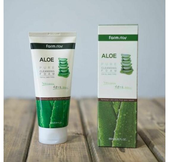 Пенка для умывания с алоэ FarmStay Pure Cleansing Foam Aloe FARMSTAY 180 мл
