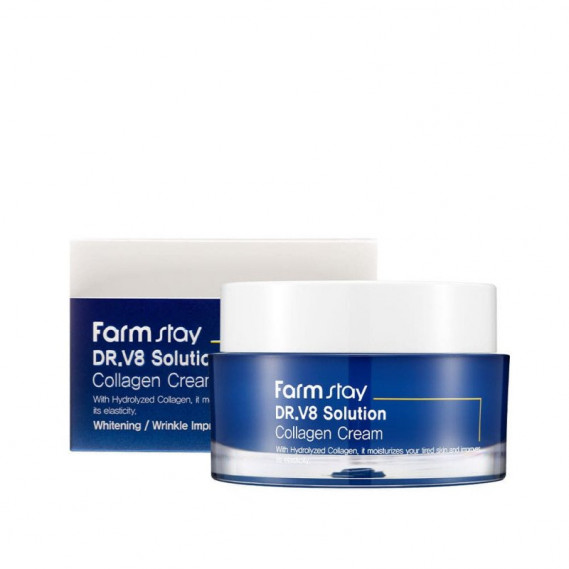 Омолаживающий крем с гидролизированным коллагеном FarmStay Dr.V8 Solution Collagen Cream FARMSTAY 50 мл