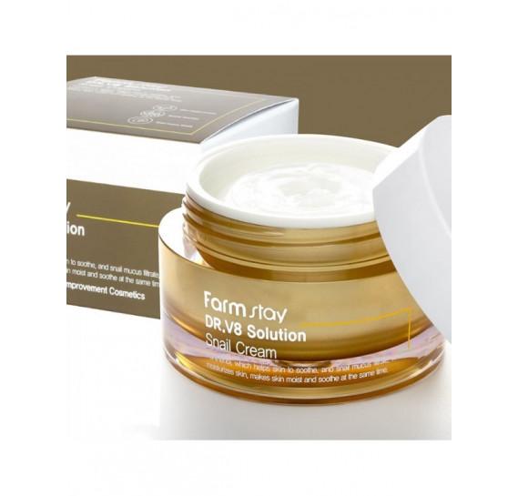 Интенсивный восстанавливающий крем с муцином улитки FarmStay Dr-V8 Solution Snail Cream FARMSTAY 50 мл