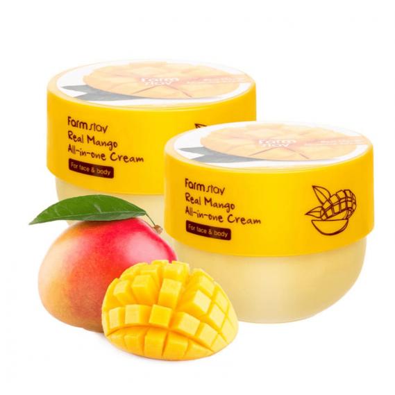 Многофункциональный крем для лица и тела с маслом манго FARMSTAY Real Mango All-in-One Cream 300 мл