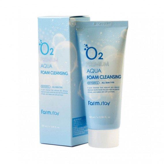 Кислородная пенка для умывания Farm Stay O2 Premium Aqua Foam Cleansing FARMSTAY 100 мл