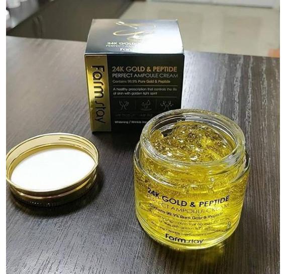 Ампульный крем с золотом и пептидами FarmStay 24K Gold and Peptide Perfect Ampoule Cream FARMSTAY 80 мл