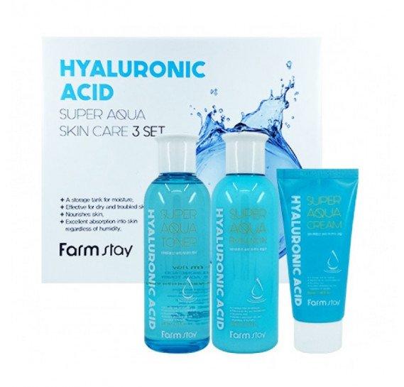Набор 3 средств с гиалуроновой кислотой FARMSTAY Hyaluronic Acid Super Aqua Skin Care 3 Set 200мл + 200мл + 50мл