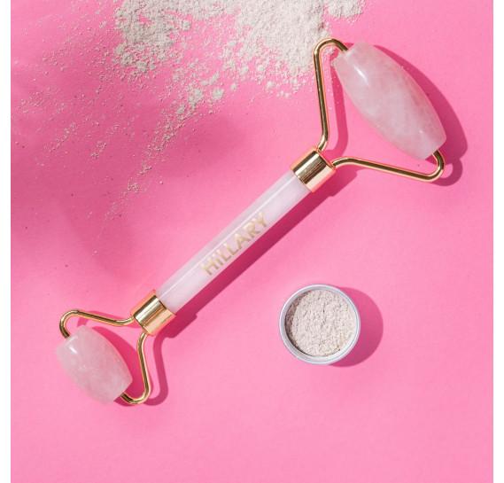 Массажный роллер из розового кварца + Масляный флюид Hillary 1 шт + 30 мл