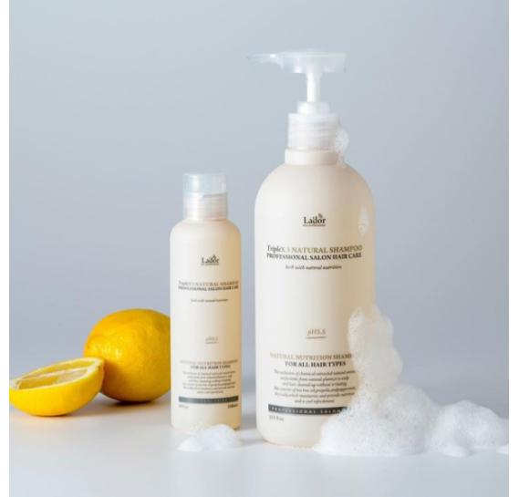 Безсульфатный натуральный шампунь с протеинами шелка La'dor Triplex Natural Shampoo 530 мл
