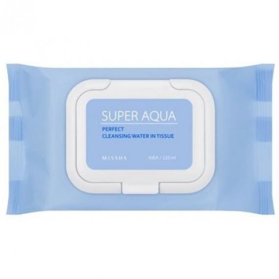 Очищающие салфетки для чувствительной кожи Missha Super Aqua Perfect Cleansing Water In Tissue MISSHA 30 шт