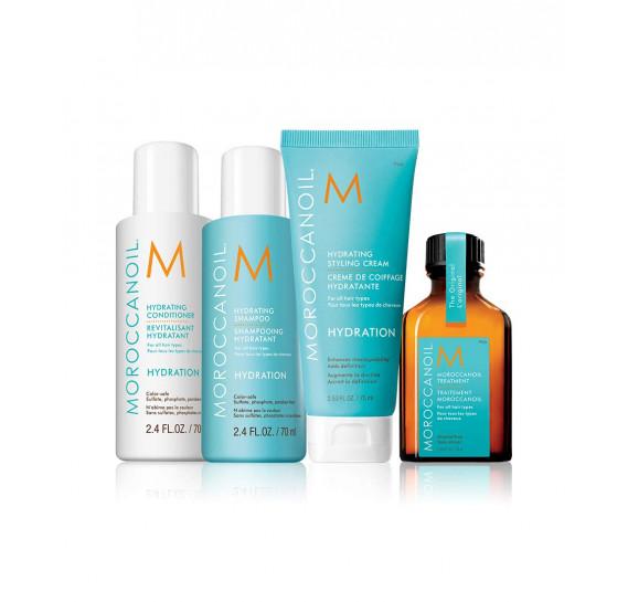 Дорожный набор - Увлажнение Moroccanoil шампунь - 70 мл, кондиционер - 70 мл, маска - 75 мл, масло - 25 мл