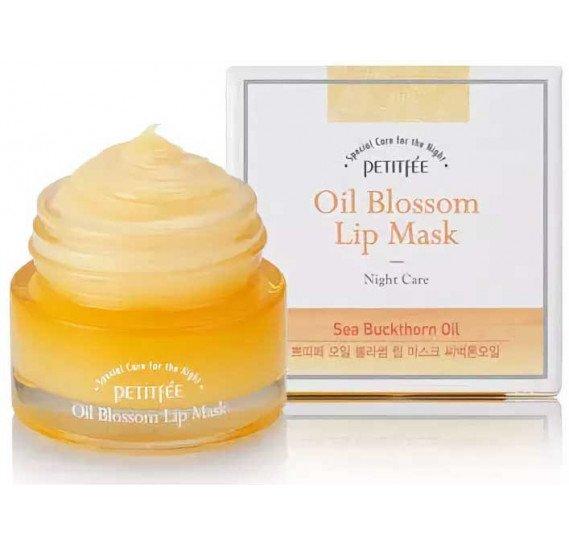 Ночная маска для губ c маслом облепихи Petitfee Oil Blossom Lip Mask Sea Buckthorn Oil PETITFEE 15 мл