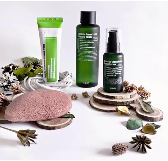 Набор для лица успокаивающий и восстанавливающий с центеллой азиатской Purito Centella Green Level 200 мл + 60 мл + 50 мл + 30 мл + 5 шт