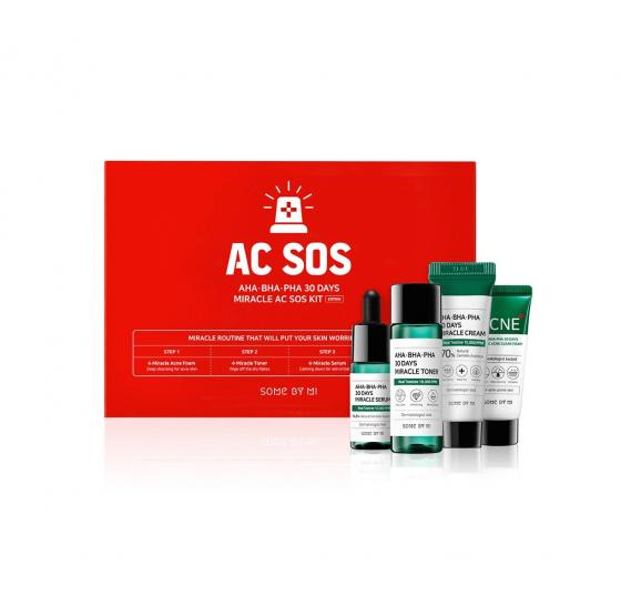 Набор миниатюр кислотных средств для проблемной кожи SOME BY MI AHA-BHA-PHA 30 Days Miracle AC SOS Kit Some By Mi 90 мл