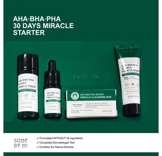 Набор для проблемной кожи с кислотами Some By Mi AHA-BHA-PHA 30 Days Miracle Starter Edition мыло - 30 гр, тоник - 30 мл, сыворотка - 10 мл, крем - 20 мл