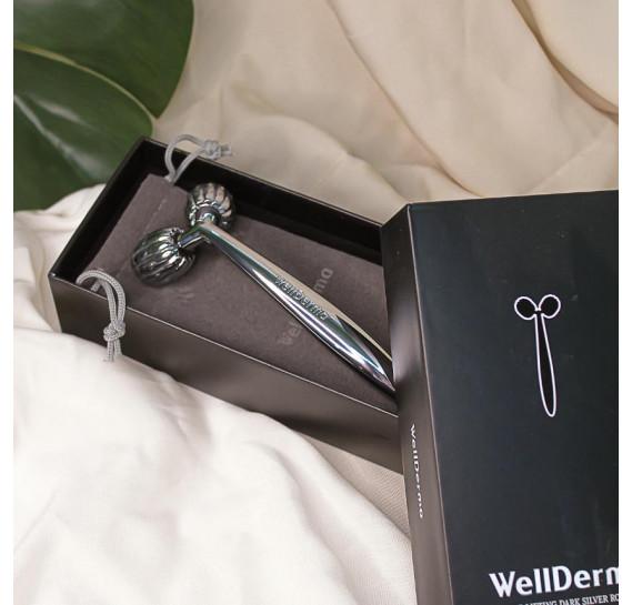 Роликовый массажёр для лица WellDerma Face Lifting Dark Silver Roller 1 шт